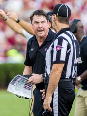 Sep 14, 2019; Columbia, SC, USA; South Carolina Gamecocks head coach Will Muschamp disputes a call against the Alabama Crimson Tide at Williams-Brice Stadium. Mandatory Credit: Jeff Blake-USA TODAY Sports
