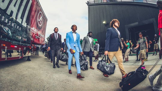 University of Alabama wide receiver DeVonta Smith arrives at the Alabama vs. South Carolina game on Saturday, Sept. 14.