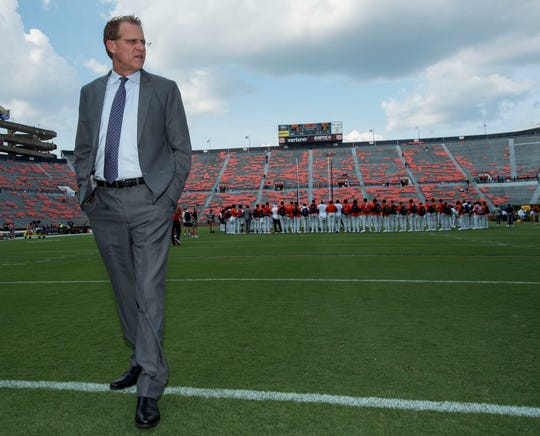 Auburn head coach Gus Malzahn walks the field before the game at Jordan-Hare Stadium in Auburn, Ala., on Saturday, Sept. 14, 2019.