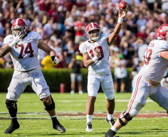 Sep 14, 2019; Columbia, SC, USA; Alabama Crimson Tide quarterback Tua Tagovailoa (13) passes the football against the South Carolina Gamecocks at Williams-Brice Stadium. Mandatory Credit: Jeff Blake-USA TODAY Sports