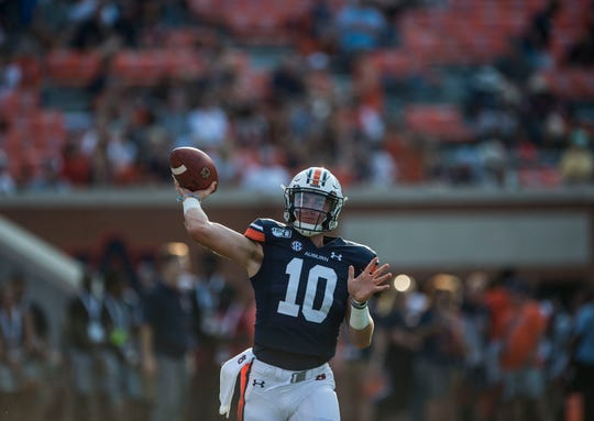 Auburn quarterback Bo Nix (10) warms up during pregame warm ups at Jordan-Hare Stadium in Auburn, Ala., on Saturday, Sept. 14, 2019.