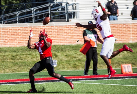 Ball State's Malik Dunner catches for at touchdown against Florida Atlantic during their game at Scheumann Stadium Saturday, Sept. 14, 2019.