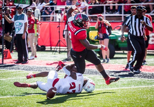 Ball State running back Caleb Huntley fumbles the ball as he attempts to cross the goal line for a rushing touchdown.
