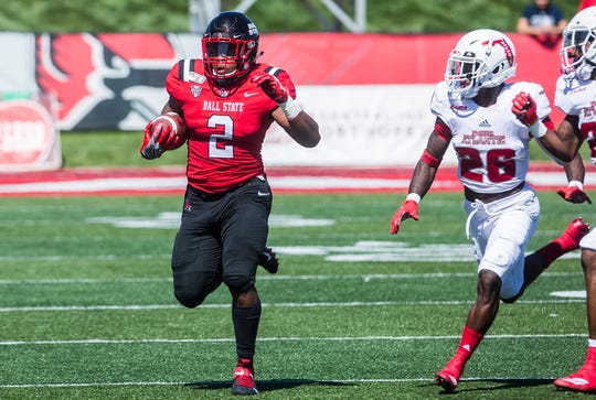 Ball State running back Caleb Huntley competes during the Cardinals' game against Florida Atlantic at Scheumann Stadium on Sept. 14, 2019.