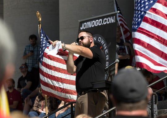 Chris Dorr spoke in Ohio at a gun rights rally.