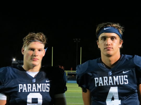 Kyle Jacob (left) and Trevor Bopp dominated the second half of Paramus' 40-13 football win over Mahwah in Paramus on Friday, September 13, 2019.