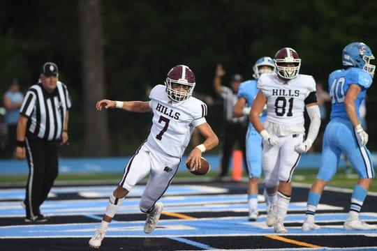 Wayne Hills football at Wayne Valley on Saturday, September 14, 2019. WH #7 QB Michael Casasanta scores a touchdown.