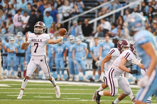 Wayne Hills football at Wayne Valley on Saturday, September 14, 2019. WH #7 QB Michael Casasanta.
