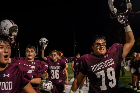 Ridgewood High School football plays Old Tappan in Ridgewood on Friday September 13, 2019. Ridgewood celebrates after winning by one point.