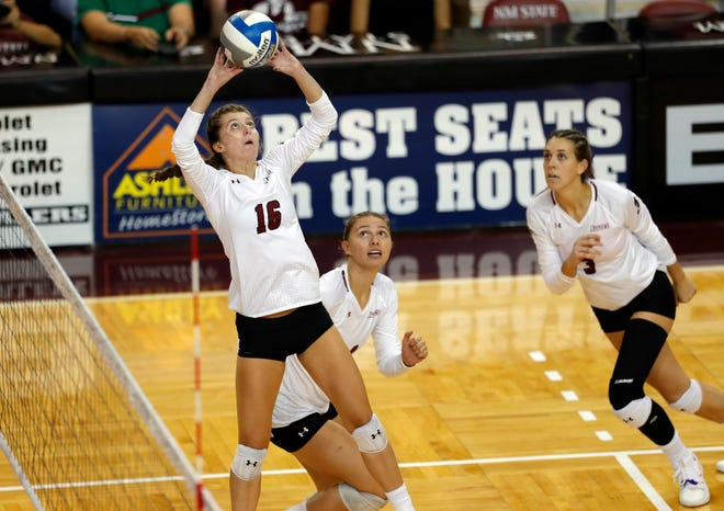 The New Mexico State volleyball team got swept by BYU on Friday in the opening round of the NCAA tournament in Provo, Utah.