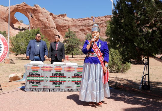 Miss Navajo Nation Shaandiin Parrish sings at the signing ceremony for the fiscal year 2020 comprehensive budget on Sept. 13, 2019 in Window Rock, Arizona.