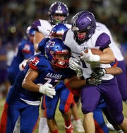 Jaden Donovan of Shadow Hills High School, seen here in a game against Indio, scored four touchdowns as the Knights defeated King High School of Riverside 56-28 Friday night.