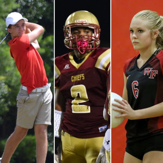 From left, Catholic's Nicholas Dimitroff, Northview's Jayden Jackson and West Florida's Cara Johnsey are among the nominees for PNJ Athlete of the Week (Sept. 8-14).