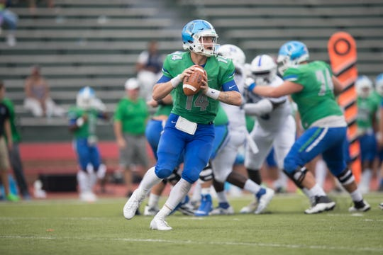 UWF redshirt freshman quarterback Austin Reed prepares to pass in his first career start against Shorter on Sept. 14, 2019. UWF won 42-14 over the Hawks.