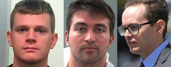 This combination of file photos shows Drew Crandall, from left, Aaron Shamo and Sean Gygi. Shamo built a multimillion-dollar fentanyl trafficking empire from his computer with help from Crandall and Gygi. The case prosecutors brought against him reveals the ease with which the powerful opioid drug that has killed tens of thousands of people now moves around the world.