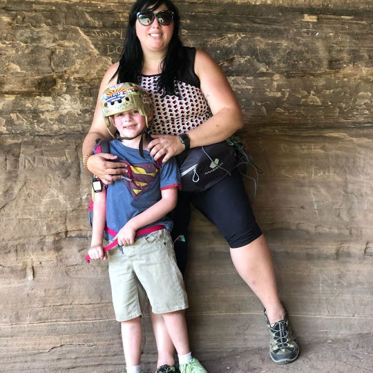 Michelle Bernstein-Schultz and her son, Blaine Schultz, pose for a photo on the Arizona Trail, which spans 800 miles across the state. They plan to hike the trail in full this coming March.