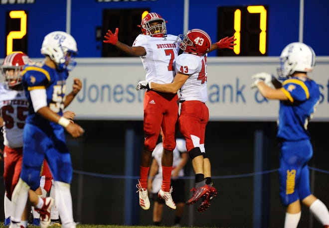 Annville-Cleona's Quamir Parker(7) and Trevor Porche (43) celebrate after Porche scores his 2nd TD of the game during 1st Qt. action in a game between the Northern Lebanon H.S. Vikings and the Annville Cleona H.S. Dutchmen played Friday Sept.13,2019 at Northern Lebanon High School's Frederick L.Gahres Stadium.