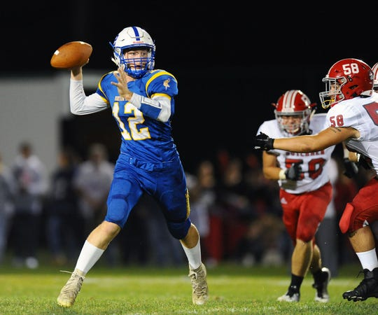Northern Lebanon's QB Ethan Borcky (12) threw for 347 yards in last week's loss to Annville-Cleona.