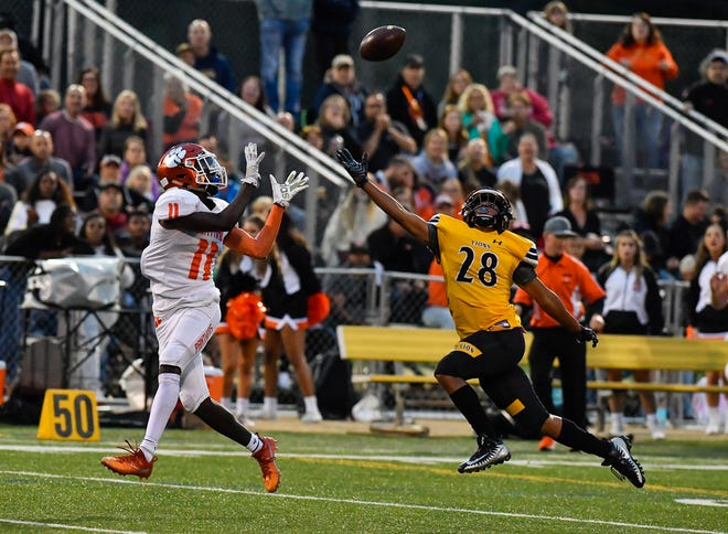 Central York's Taylor Wright-Rawls catches the ball for a 50 plus yard gain on Red Lion in the Panthers' first play of their first possession,  Friday, September 13, 2019John A. Pavoncello photo