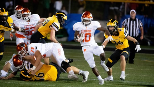 Brendan Harris (10) speeds through the hole in the line during the YAIAA football game between Red Lion and Central York at Red Lion Area Senior High School, Friday, September 13, 2019. The Panthers defeated the Lions 58-7.