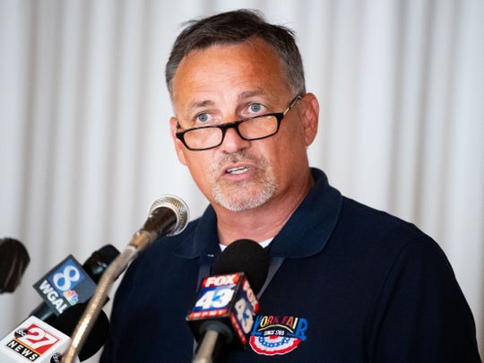 York Fair CEO Bryan Blair addresses the Giant Wheel incident that left a man injured after a fall from it, Saturday, September 14, 2019.