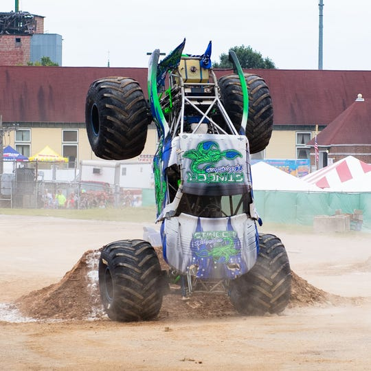 Zane Rettew pulls off a unique trick during the Monster Truck Fall Bash, Saturday, September 14, 2019.