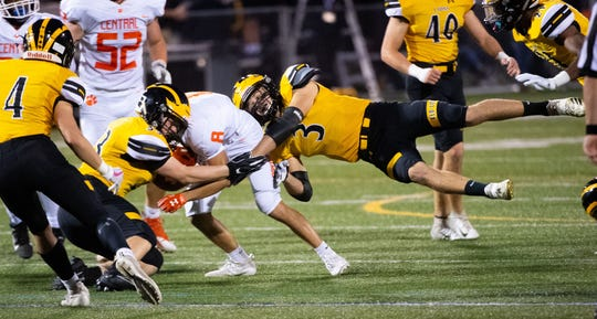 Bailey Royer (3) helps make a tackle during the YAIAA football game between Red Lion and Central York at Red Lion Area Senior High School, Friday, September 13, 2019. The Panthers defeated the Lions 58-7.