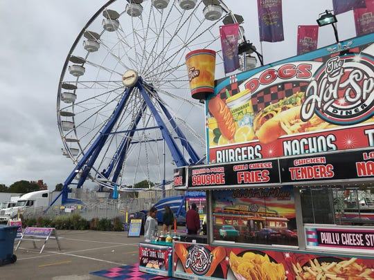 The Giant Wheel, York Fair's Ferris wheel in the Midway, is being inspected today after a man fell from it Friday night. He and another fair guest were taken to WellSpan York Hospital for treatment.