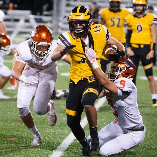 Devyn Gurreri (43) tries to shake the defense during the YAIAA football game between Red Lion and Central York at Red Lion Area Senior High School, Friday, September 13, 2019. The Panthers defeated the Lions 58-7.