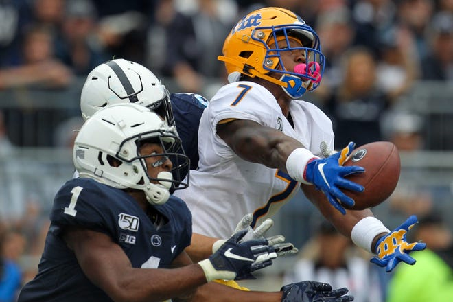 Sep 14, 2019; University Park, PA, USA; Pittsburgh Panthers defensive back Jazzee Stocker (7) battles for a pass intended for Penn State Nittany Lions wide receiver KJ Hamler (1) during the third quarter at Beaver Stadium. Mandatory Credit: Matthew O'Haren-USA TODAY Sports