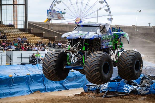 Zane Rettew tries to get the best time in the monster truck race during the Fall Bash, Saturday, September 14, 2019.