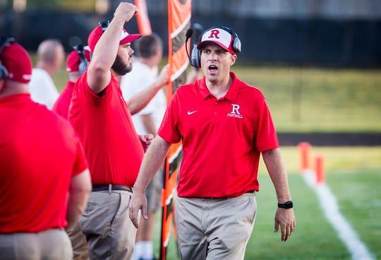 Richmond head coach Tony Sonsini during their game at Muncie Central High School Saturday, Sept. 13, 2019.