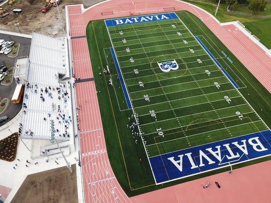 An overhead view of the renovated Daniel A. Van Detta Stadium at Woodward Field.