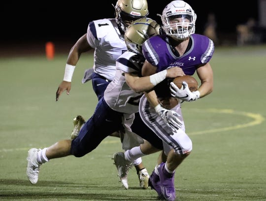 Shasta's Nathan Bova carries the ball Friday, Sept. 13, 2019.