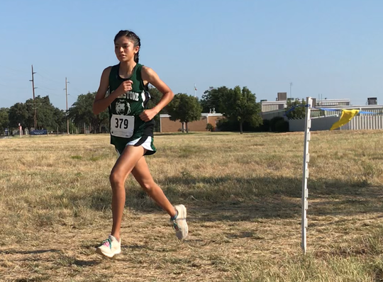 Cornerstone Christian School's Lesli Salas runs to a first-place finish at the ASU Stampede Saturday, Sept. 7, 2019.