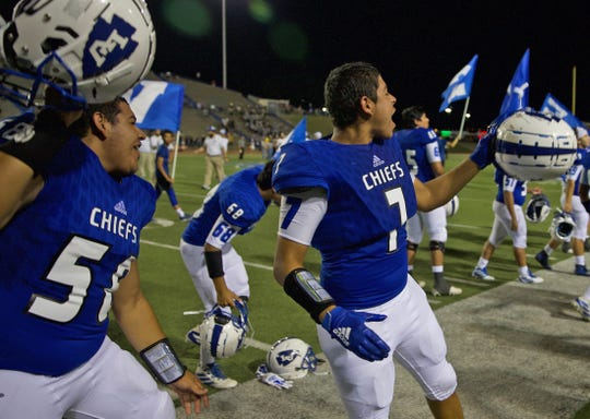 Lake View players celebrate a win Thursday, September 12, 2019.