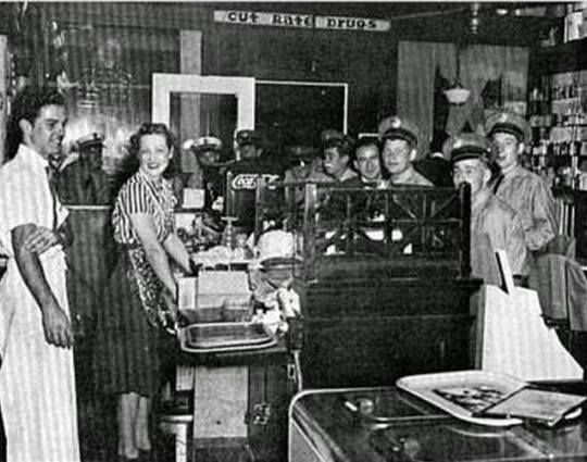Interior shot of a busy Bailey's Drug Store, established on Beverley Street in 1940.