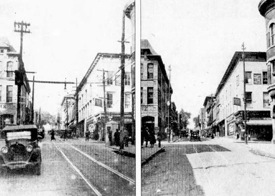 The photo at left shows Augusta Street looking north as it appeared in 1926 before a massive downtown improvement project eliminated overhead wires and telephone poles. The right-hand photo shows the same area after improvements — including the removal of a policeman's wooden shack on the corner.