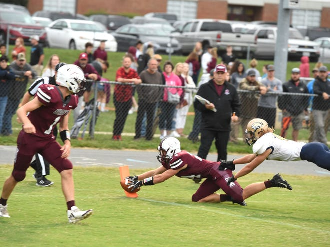 Stuarts Draft's Aaron Nice scores a touchdown in the first quarter Friday night.