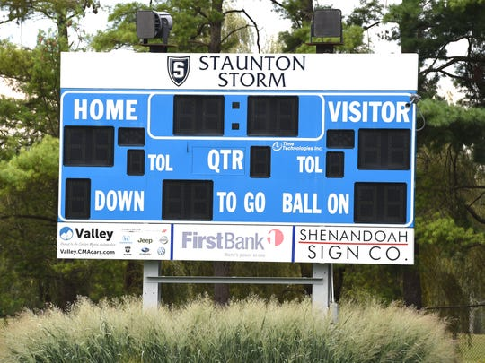 The scoreboard at Staunton's Wine Stadium.