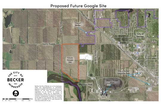 Location for a proposed Google data center in Becker, near the Sherco power plant.