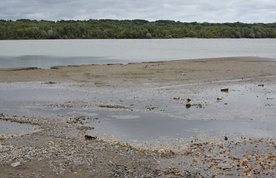 Lake levels still look very different on Little Rock Lake as the drawdown comes to a close Friday, Sept. 13, 2019, at Benton Beach Campground.