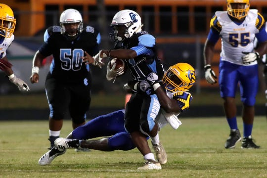 Gadsden County running back Johntarrious Thomas scored a first-half touchdown in the Jaguars' 15-13 win over Rickards on Friday, Sept. 13, 2019.