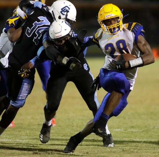 Rickards running back Devin Bailey scored a touchdown, but the Raiders lost 15-13 to Gadsden County on Friday, Sept. 13, 2019.