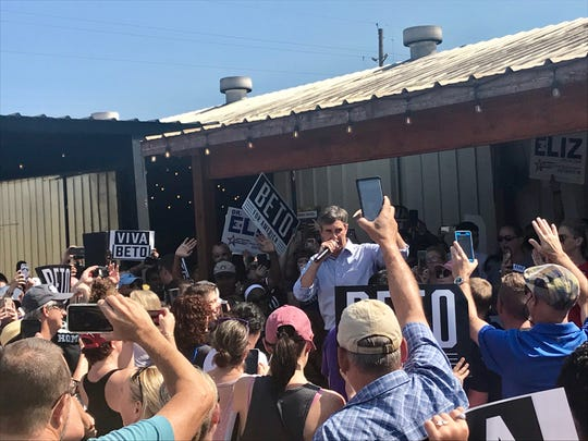 Democratic presidential candidate Beto O'Rourke speaks at a rally in Katy, Texas, on Saturday, Sept. 14, 2019.