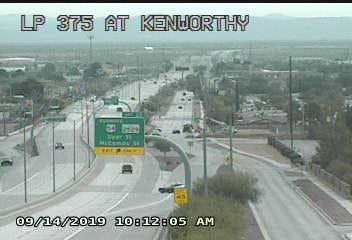 An El Paso police car blocks the off-ramp at Kenworthy Street on Saturday morning, Sept. 14, 2019.