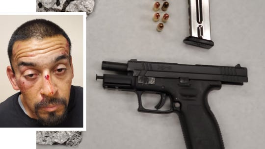 This is Jose Magallanes Jr. in a composite  photo with the gun he allegedly discarded during a confrontation with Oxnard police.