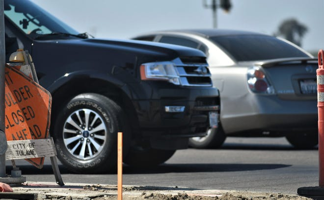 A traffic shift is taking place in Tulare at the Cartmill Avenue improvements project on Monday, September 14, 2019.