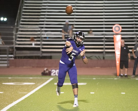 Mission Oak quarterback Matt Ordunez passes against Mt. Whitney in a non-league footabll game on Friday, Sept. 13, 2019.