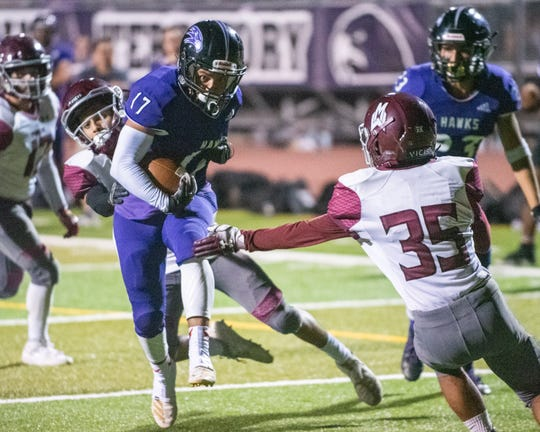 Mission Oak's Leonardo Reynaga powers towards the end zone against Mt. Whitney in a non-league footabll game on Friday, Sept. 13, 2019.